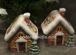 Коледна украса - къщи от рисувана керамика от магазин Gifts