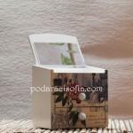 Дървена кутия за бижута с украса с декупаж