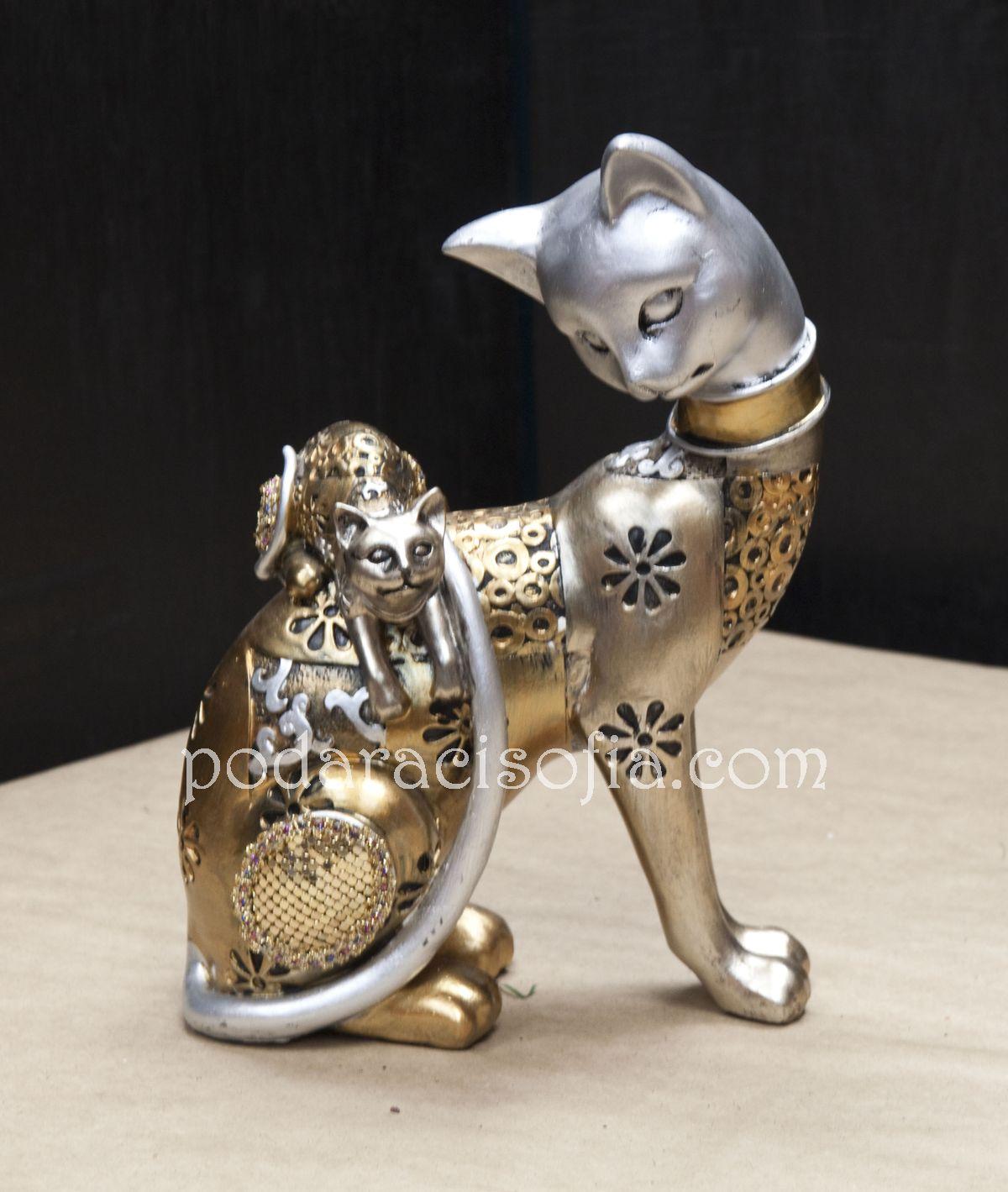 Статуетка на котка с котенце в златно и сребърно от магазин за подаръци Gifts