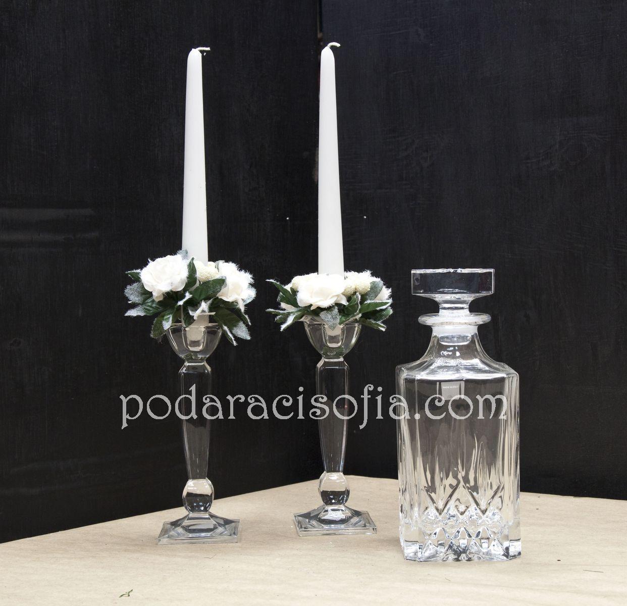 кристални предмети за подарък от магазин за подаръци Gifts - гарафа и свещници