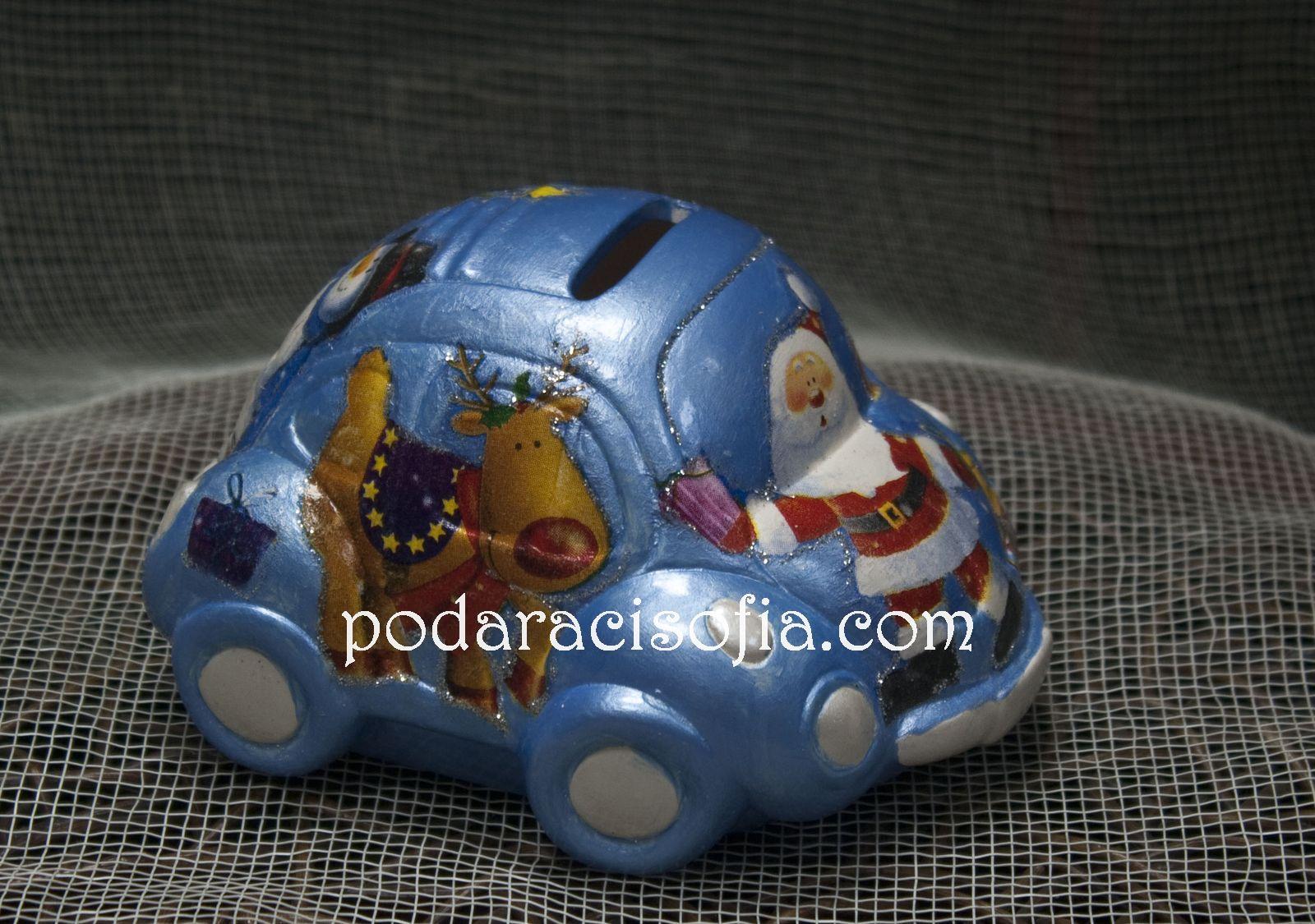 Кола - касичка от ръчно рисувана керамика