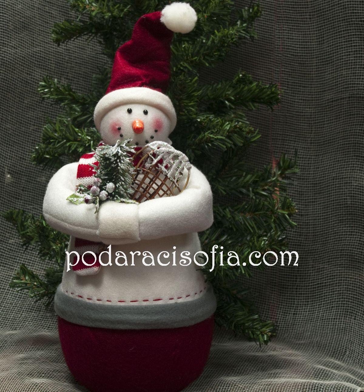 Снежен човек изработен от плат - хубава коледна украса