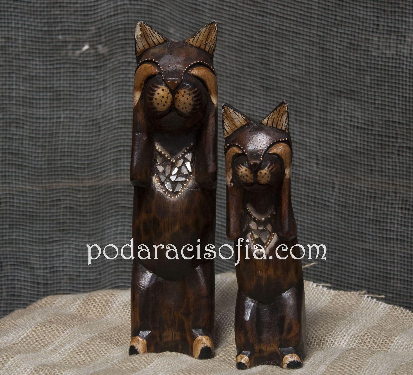 Две статуетки на котки от дърво от Gifts