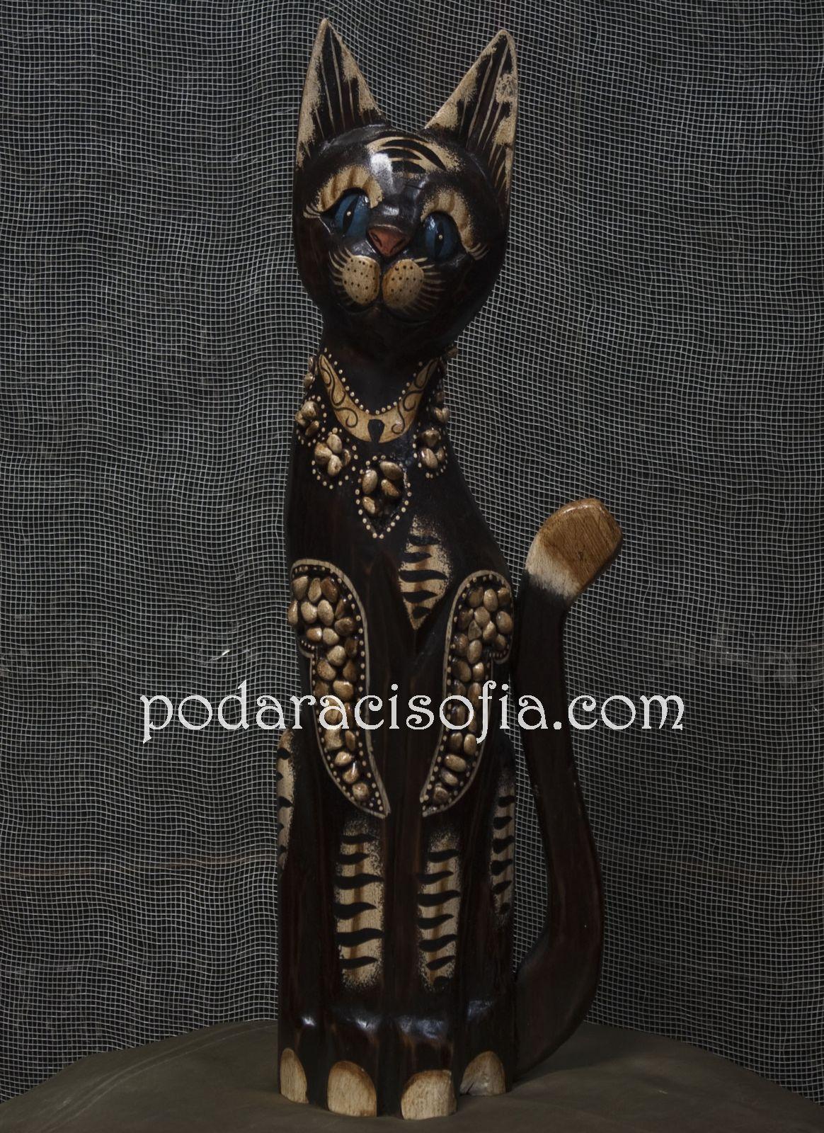 Дървена котка с релефна украса от магазин Gifts