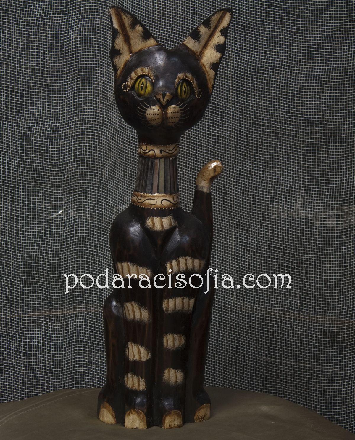 Статуетка на котка, изработена от дърво с цветна украса от магазин Gifts