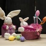 Заек кутия и фруктиера в лилаво за Великденска декорация