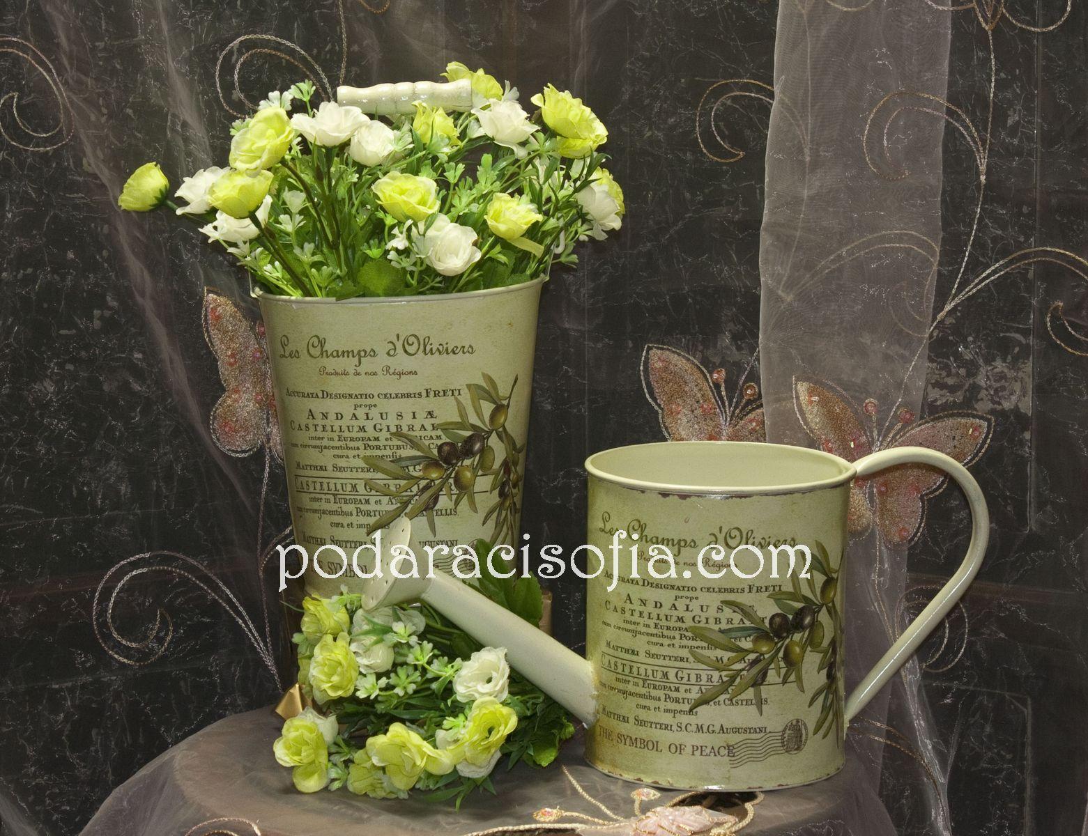 Метална лейка и метална кофичка за цветя, украсена със средиземноморски мотиви от Gifts