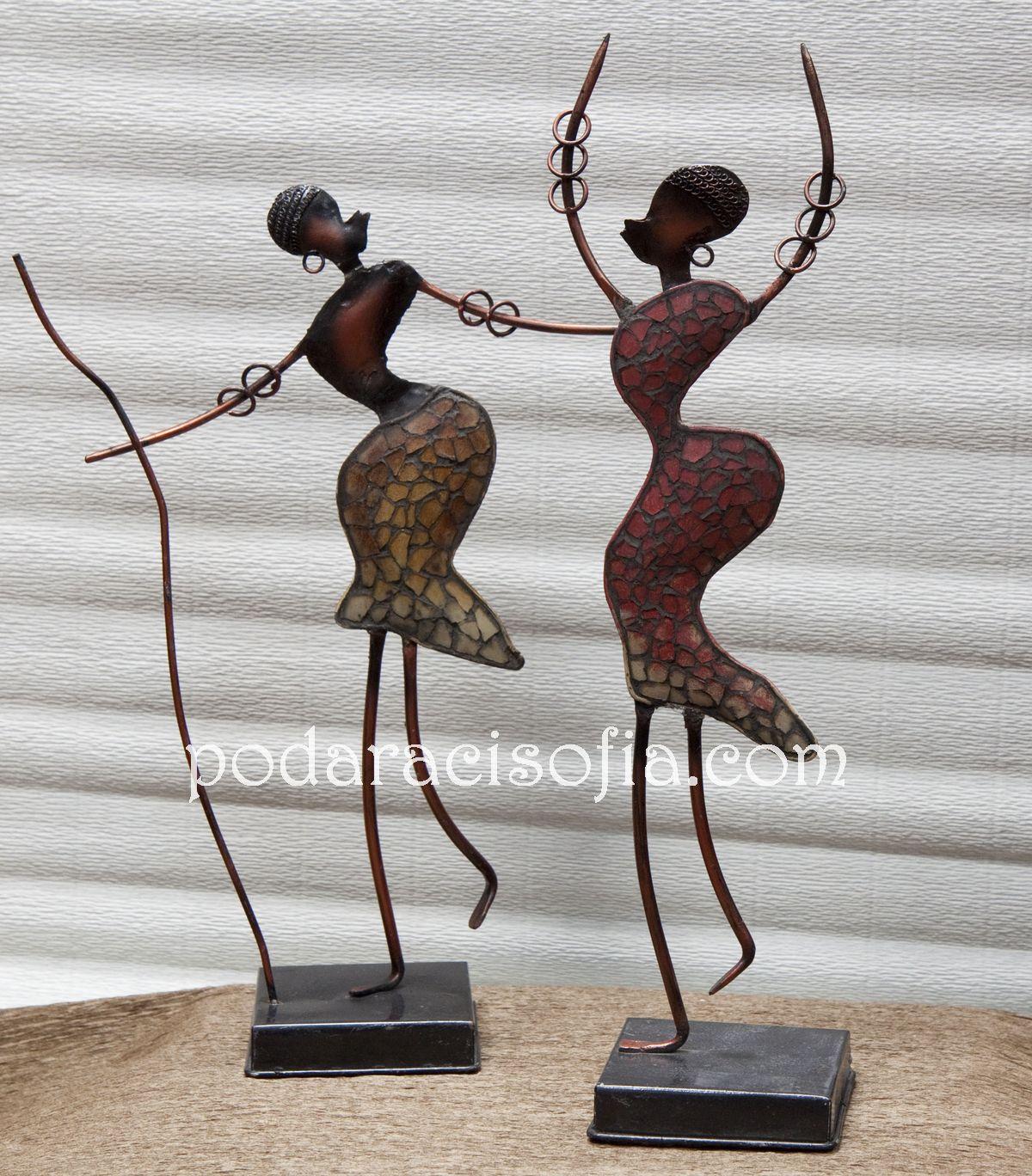 Екзотични фигури за украса в африкански стил от метал и стъкло