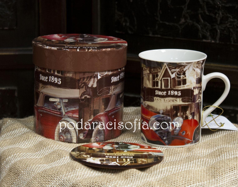 Чаша за чай за мъж от порцелан, с кутия и поставка за чаша