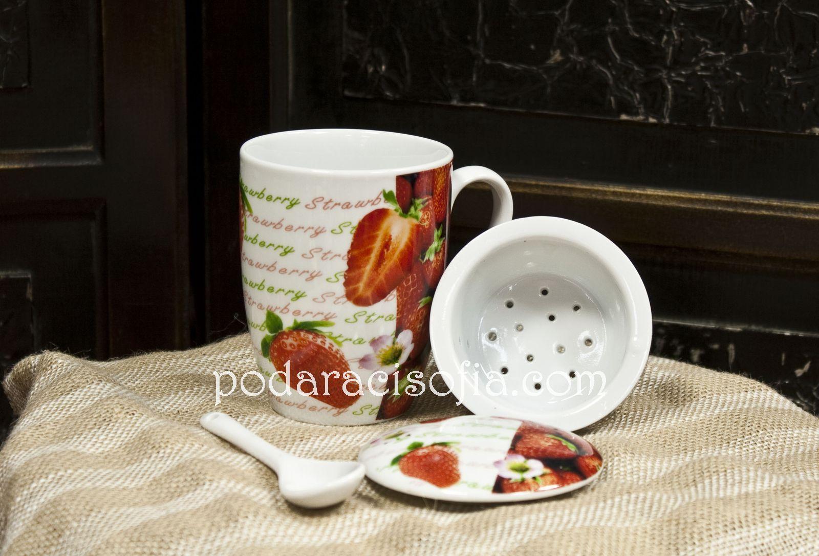 Чаша за чай с цедка и лъжичка от порцелан от Gifts