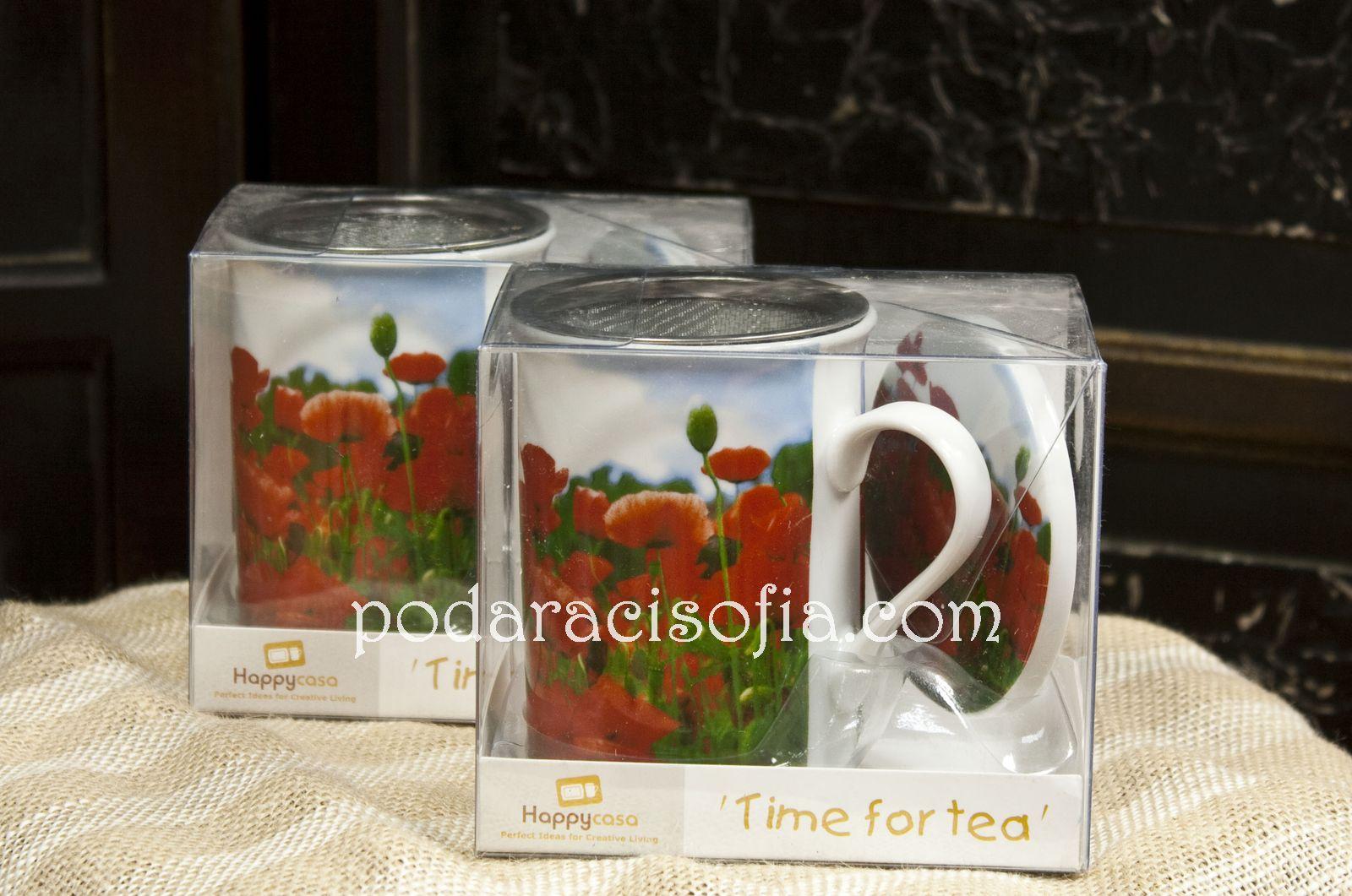 Чаши за чай с макове от порцелан