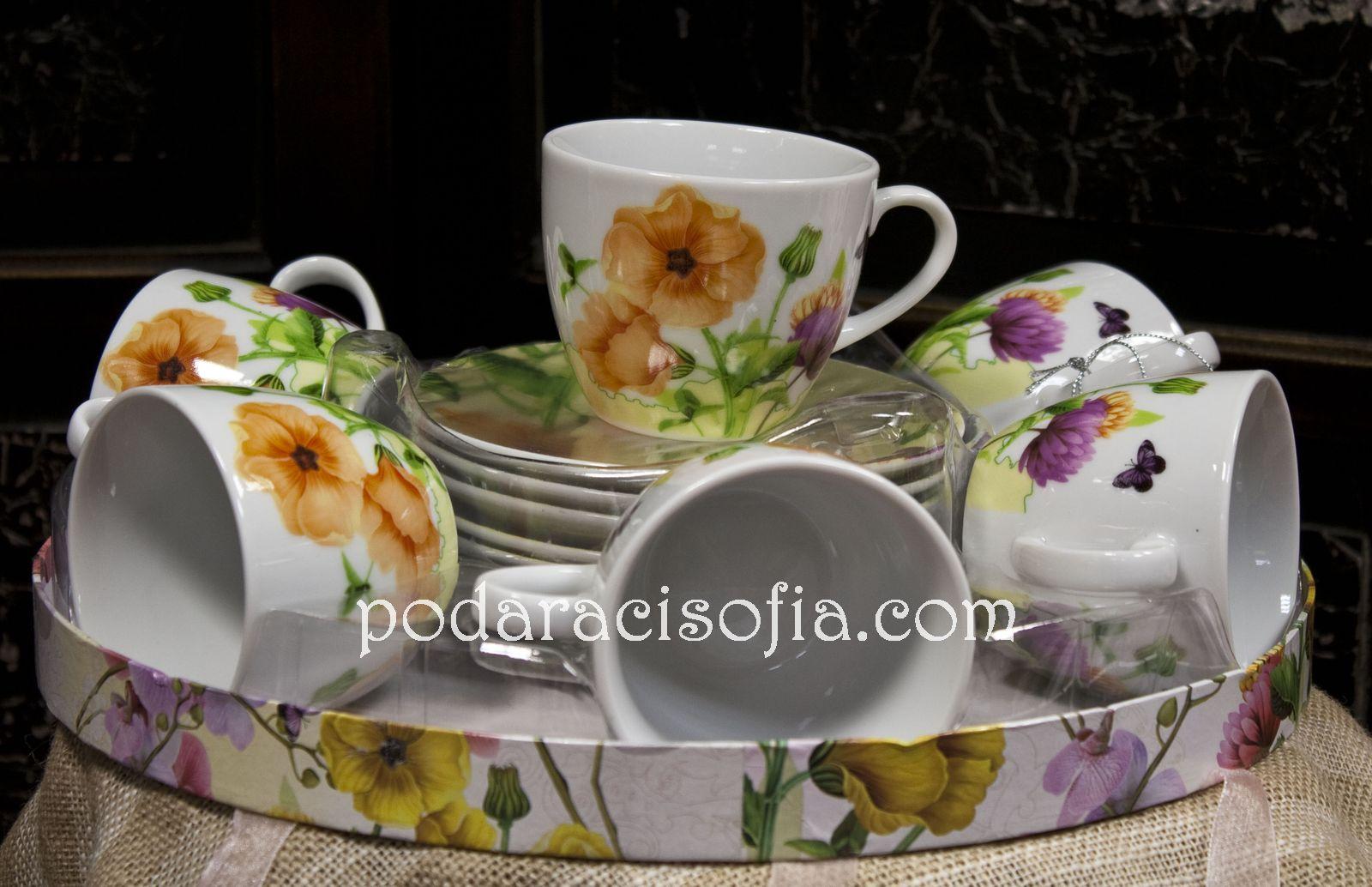 Сервиз за ча или за кафе с цветя от порцелан