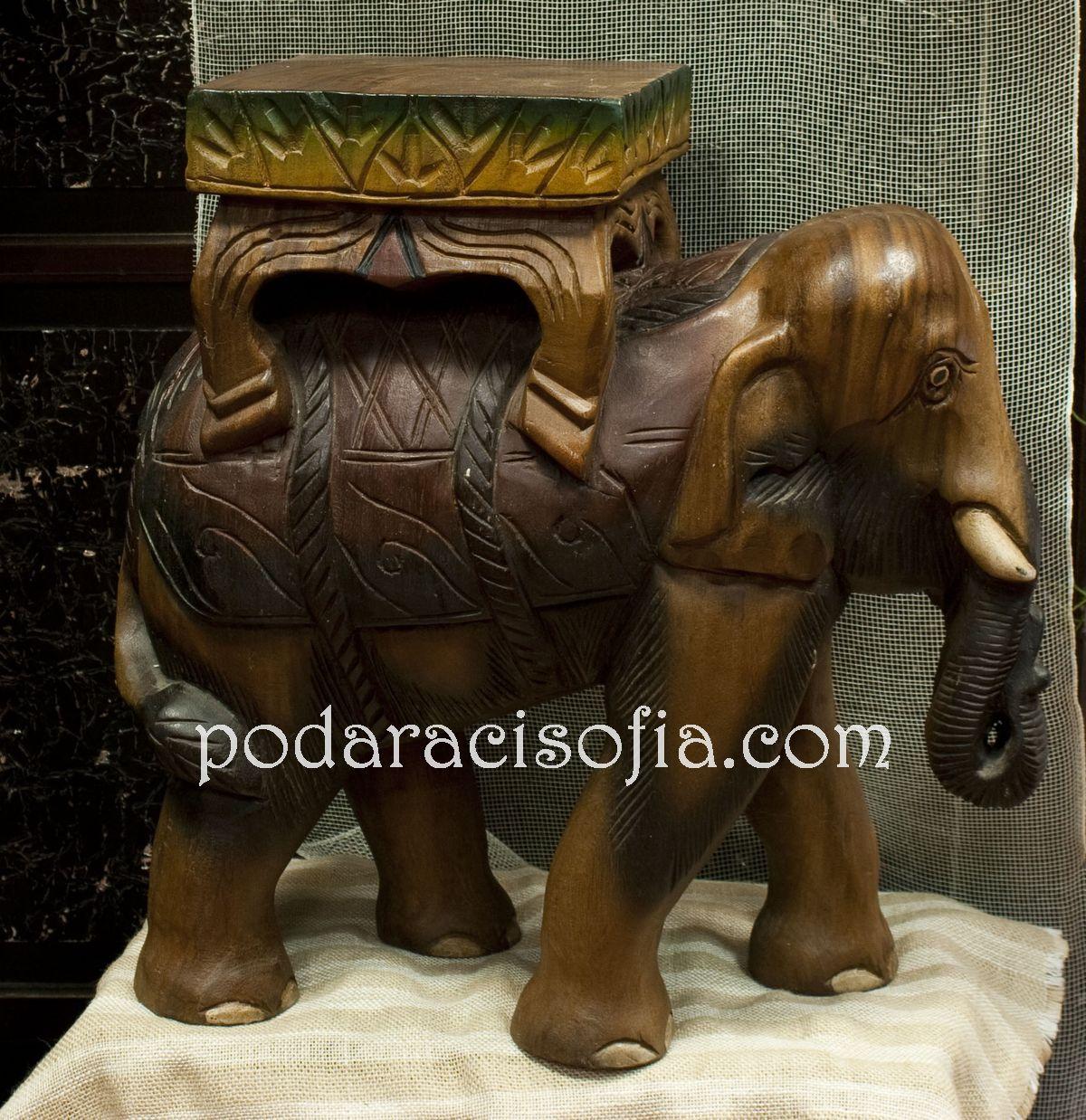 Голям дървен слон поставка от Gifts
