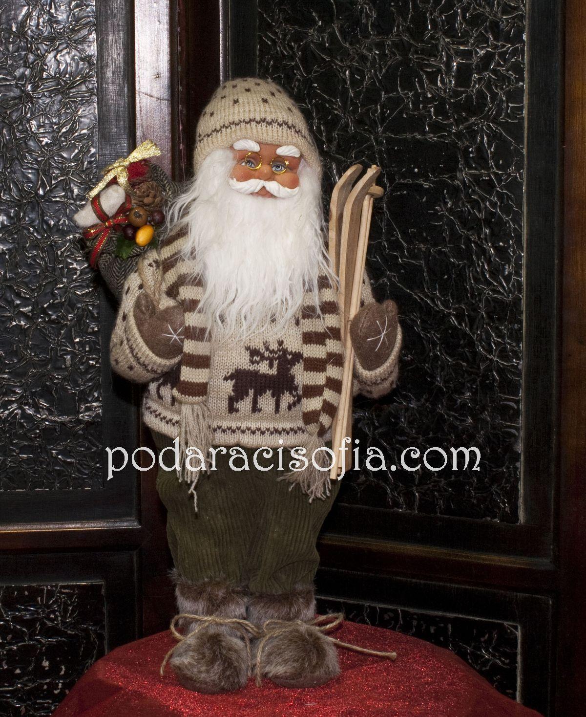 Дядо Коледа - голяма фигура облечена с пуловер в кафяво от магазин Gifts