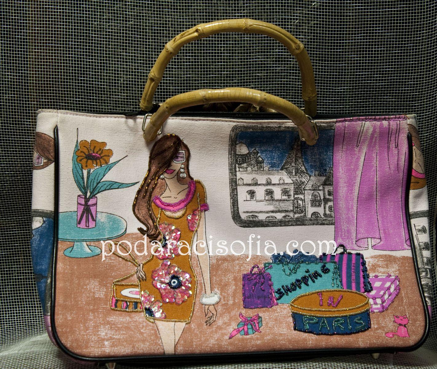 Дамска цанта от плат с артистични рисунки в ярки цветове и дръжки от бамбук