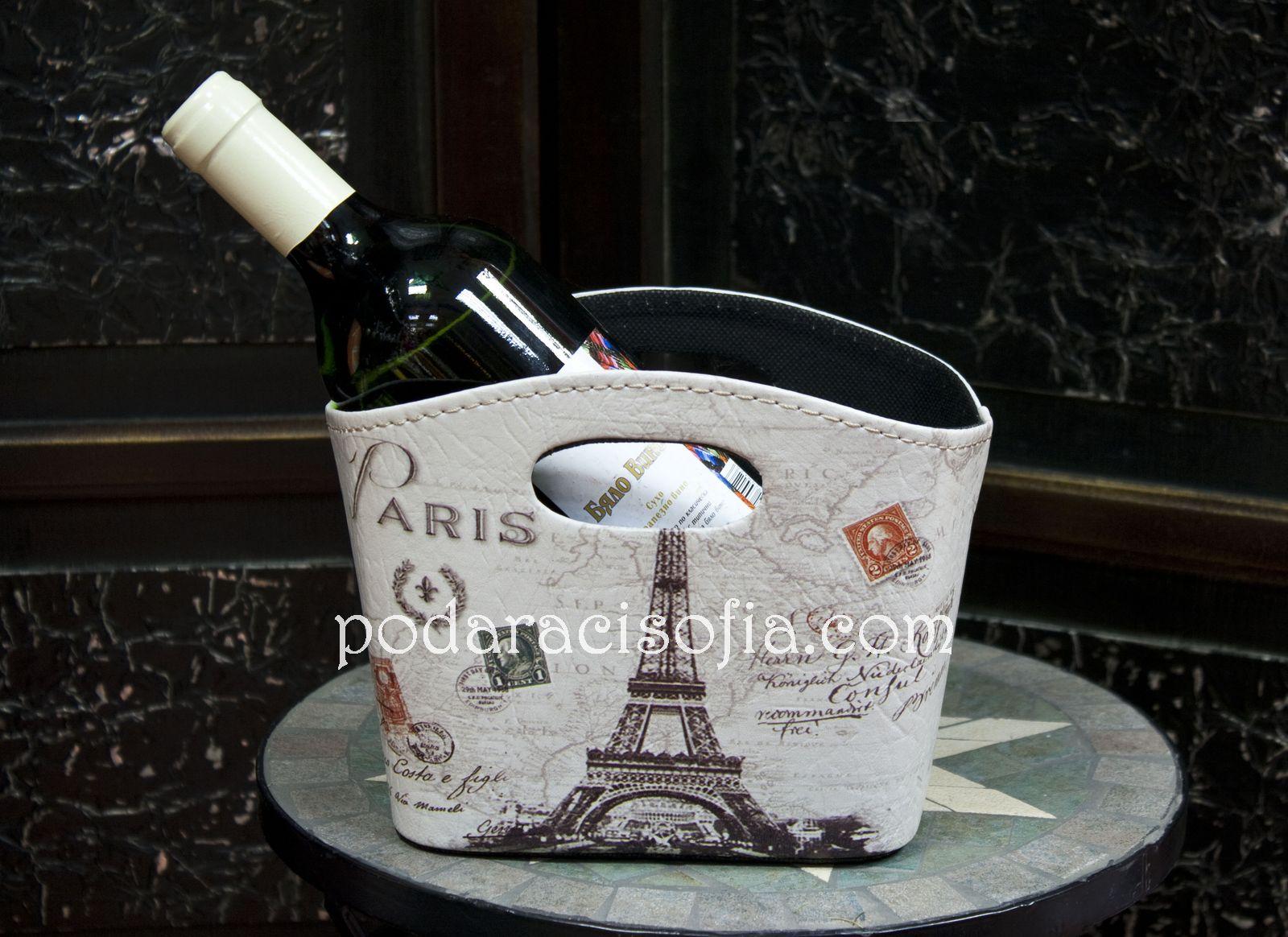 Винтидж кошница от кожа с Айфеловата кула отпред