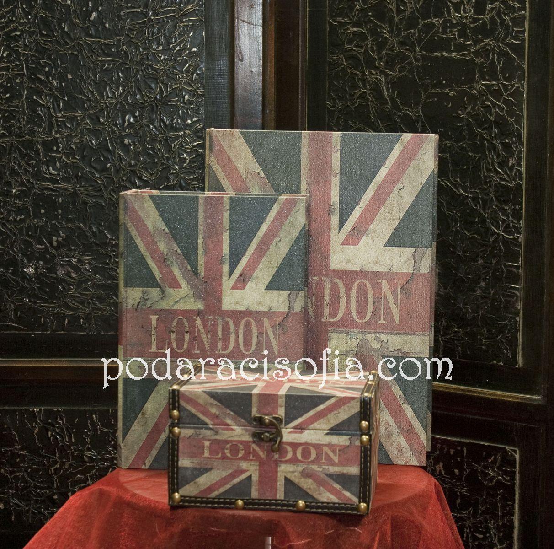 Кутии от дърво със старатено знаме на Англия