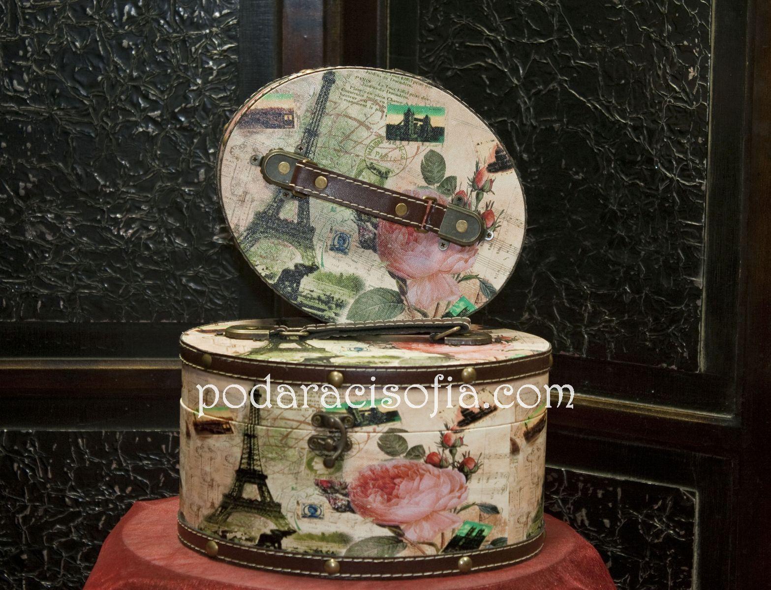Две дървени кутии за бижура с винтидж излъчване и мотиви от Франция